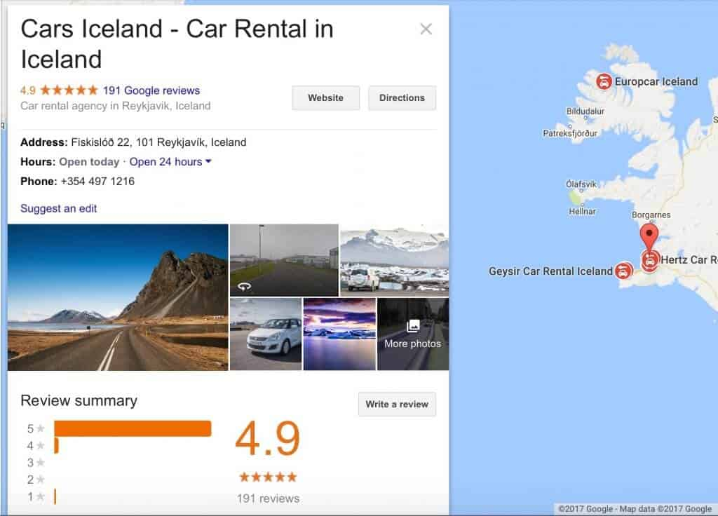 Car Rental Iceland Reviews