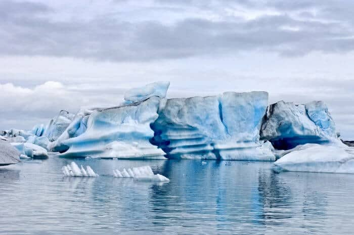 Huge pieces of ice floating on Jokursarlon glacier lake used for James Bond when filmed in Iceland