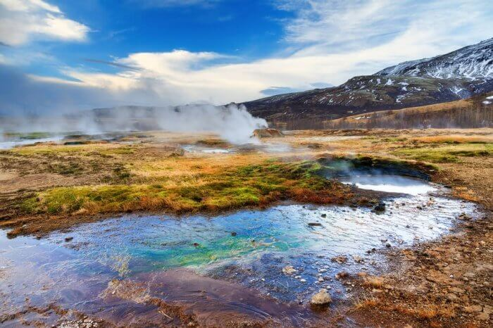 Colorful springs at Haukadalur geothermal geyser