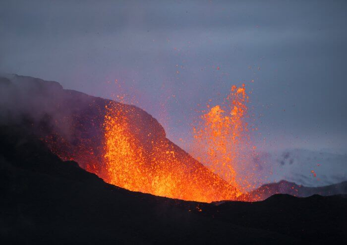 Volcano eruption in Iceland that forms islands