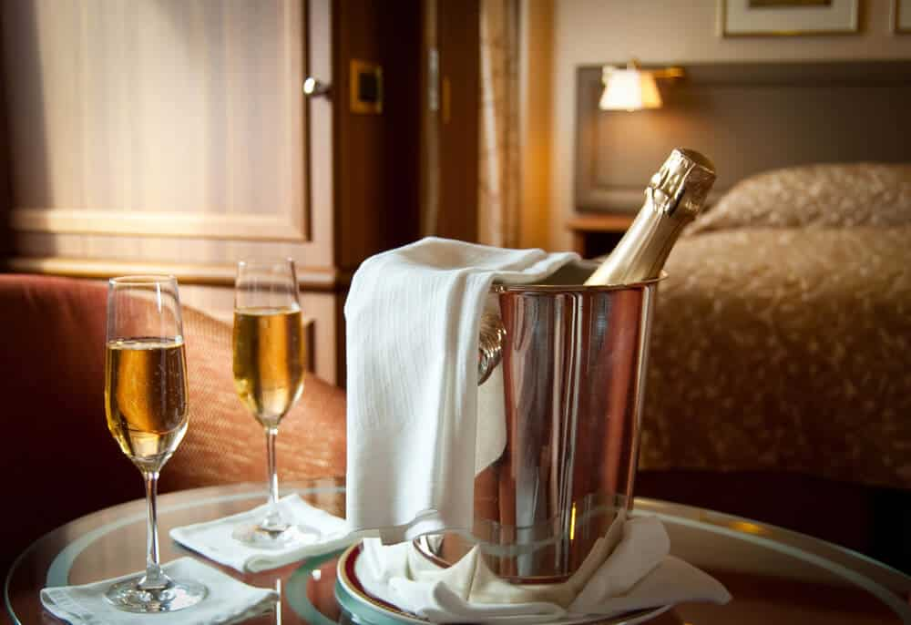 Cold champagne room service is available at the best luxury hotels