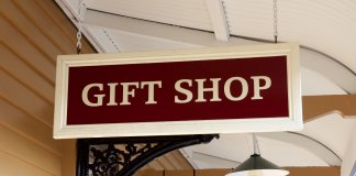 Gift shops sign hanging from the ceiling for shopping Souvenirs In Iceland