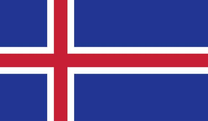 Blue and red Icelandic flag