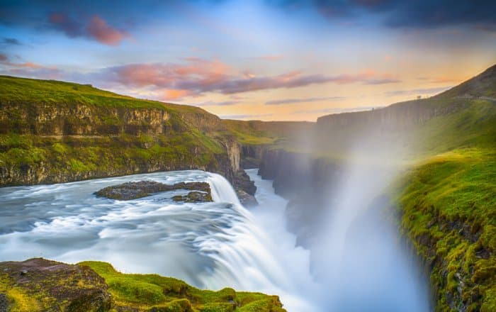 The beautiful Gullfoss waterfall at sunset
