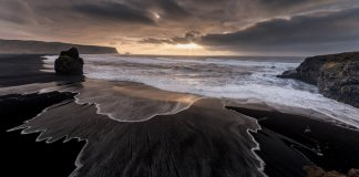 Reynisfjara is a well known black sand beach in Vik