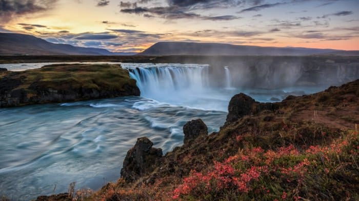 Godafoss waterfall in north Iceland is definitely a must do in Iceland