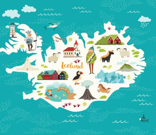 Iceland map with various attractions and things to do
