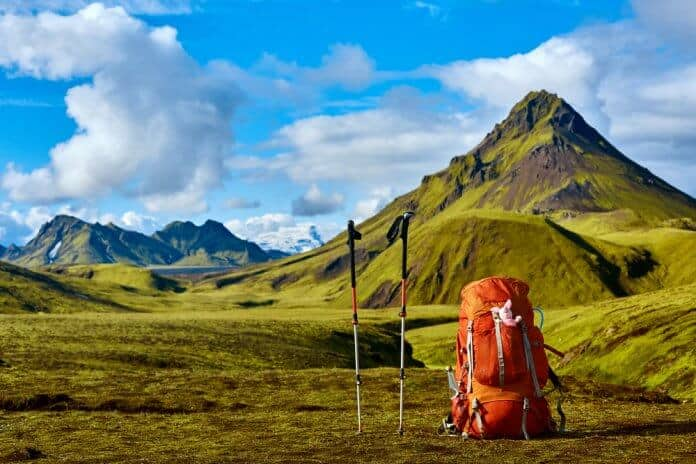 Backpack and Hiking Poles in Landmannalaugar and hiking the Laugavegur Trail in Iceland