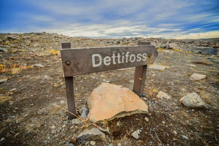 Dettifoss waterfall sign in the Diamond Circle, North Iceland