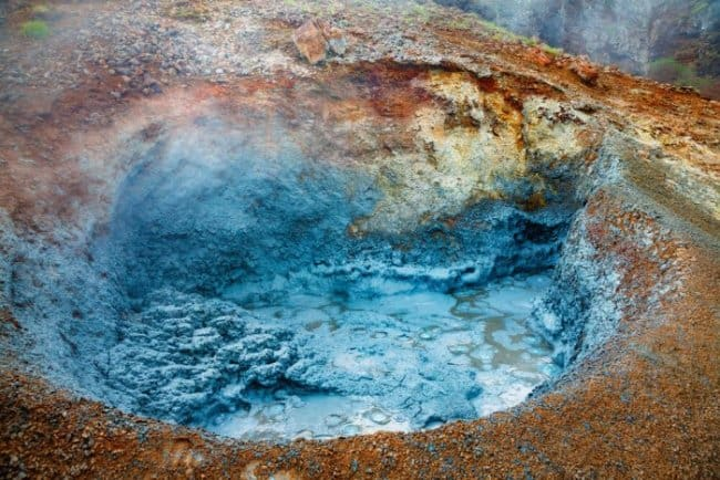 Blue crater in Lake Myvatn