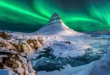 The Northern Lights in Iceland over Kirkjufell mountain
