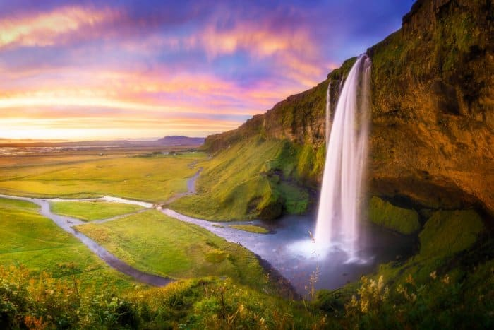 Beautiful Instagram photo of Seljalandsfoss waterfall at dusk