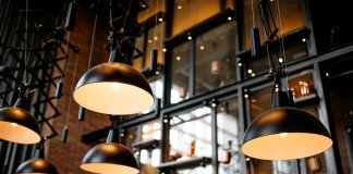 Lights illuminate Hlemmur Food Hall, a destination for foodies in Reykjavik