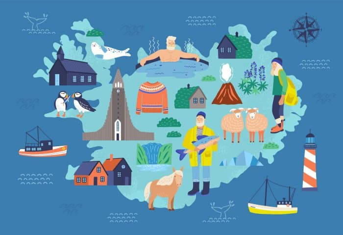 Iceland map showing the most iconic icelandic culture references