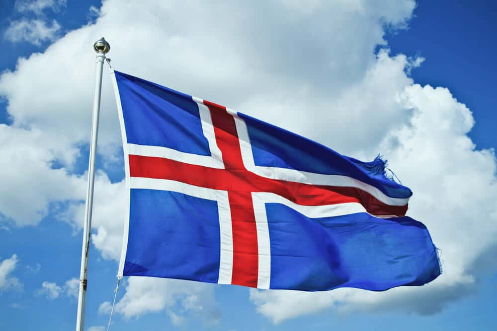 Icelandic flag flying high after the country won it's independence from Denmark