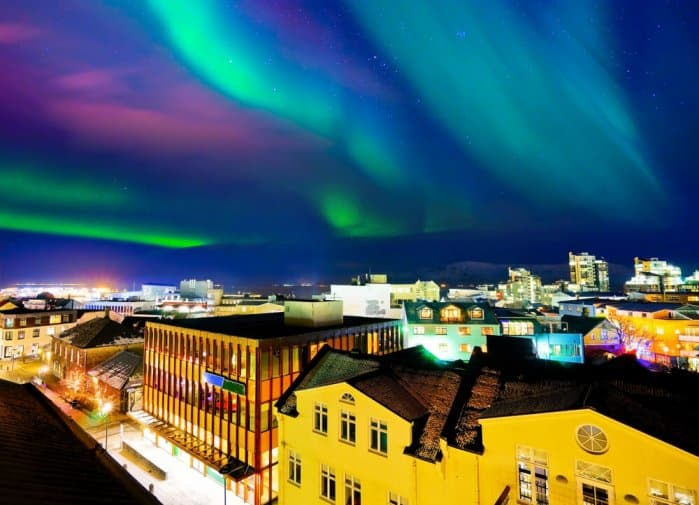 Reykjavik's Northern Lights in the evening during a 24-hour layover in Iceland