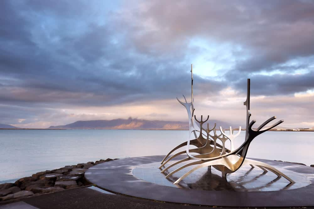 Reykjavik's Sun Voyager statue is a a sightseeing attraction during 24 hours in Iceland's capital