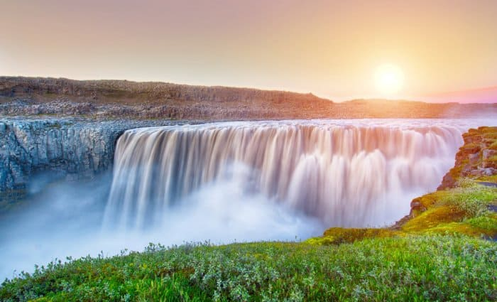 Sunset at Iceland's beautiful Dettifoss waterfall in Vatnajökull National Park