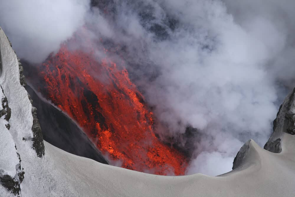 Fire mixes with ice in Iceland's Eyjafjallajökull volcano