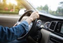 Driver behind the wheel of Iceland car or motorhome rental