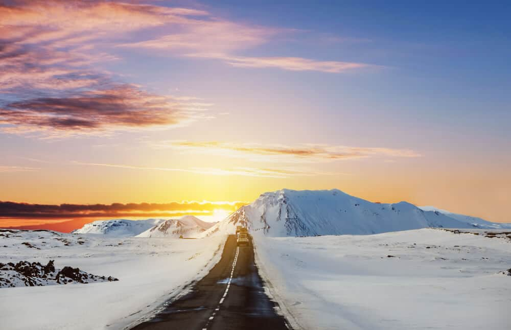 Open road in Iceland for road trip by car car, campervan, or motorhome
