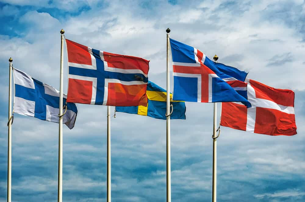 Scandinavian flags of Norway, Iceland, Sweden, Denmark, and the Faroe Islands