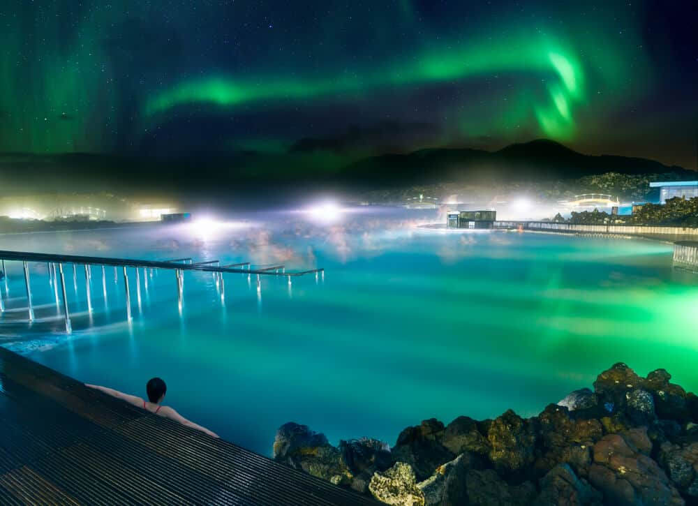 Iceland's Blue Lagoon with the Northern Lights close to the Ring Road