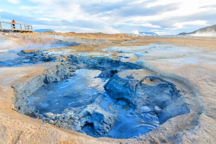 Bubbling blue mud pool at Hverir during Iceland road trip