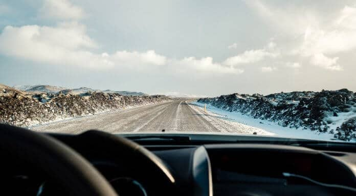 Driving in Iceland during slightly windy, icy weather