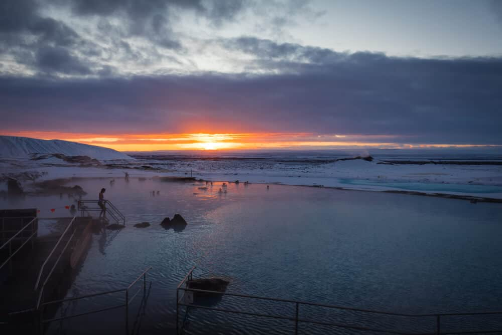 Soak up the water at Jarðböðin Nature Baths with the Midnight Sun or the Northern Lights