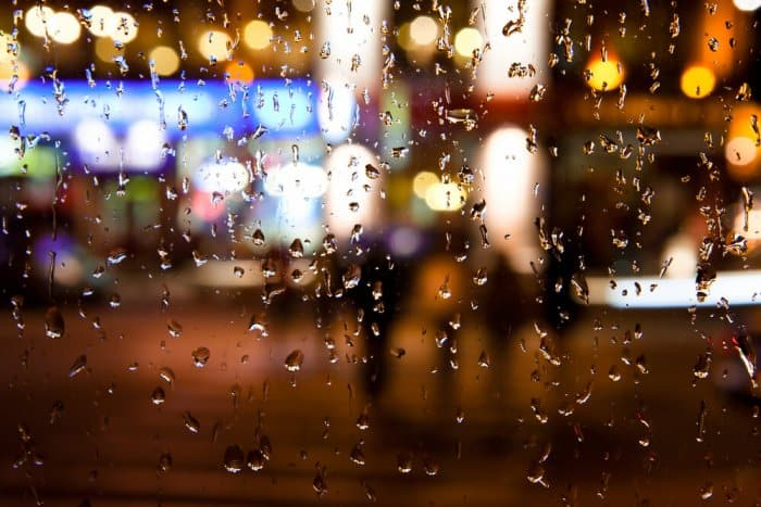 Rainy city nightscape of Iceland in October