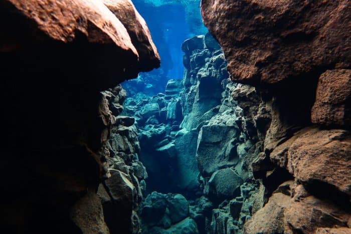 The Silfra fissure at Thingvellir National Park in the Golden Circle