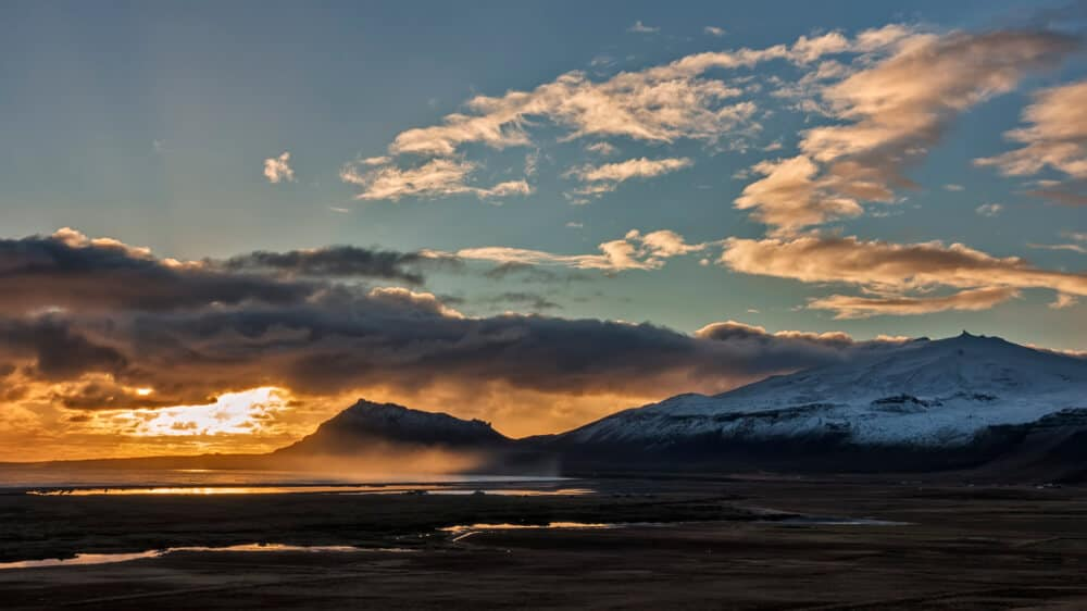 Mountains and sunset in the Snaefellsnes peninsula