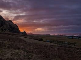 Beautiful sunset in Vik, Southern Iceland