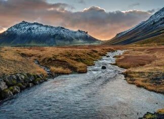 Beautiful Icelandic landscape in winter at dusk