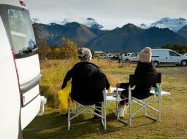 A couple enjoying breakfast during their Iceland campervan road trip