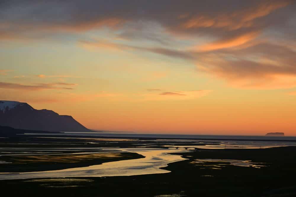 Beautiful dusk landscape of Iceland that happens earlier in winter