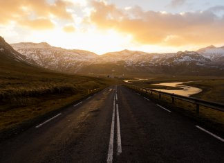 Frosty December day on Iceland's Snaefellsnesvegur road