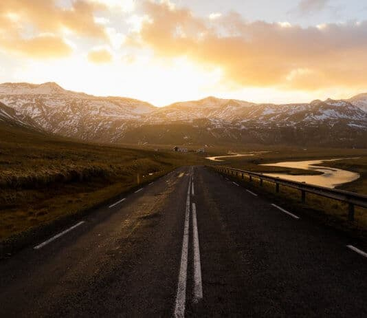 Frosty December day on Iceland's Snaefellsnesvegur road
