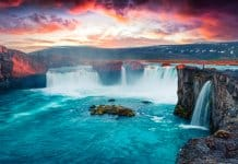 Icelandic Godafoss waterfall at sunset