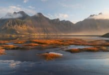 Vestrahorn mountain in Iceland in November autumn