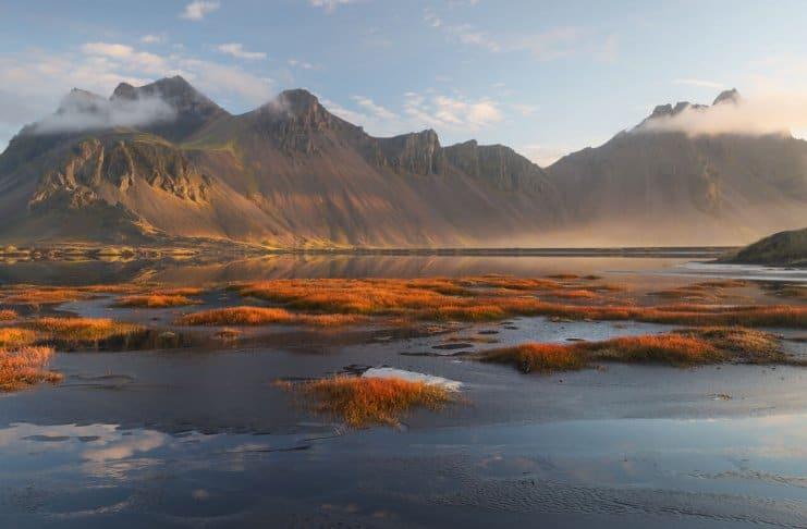Vestrahorn mountain in Iceland in November autumn