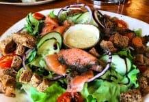 Halldórskaffi is one of Vik's best restaurants with this salmon salad and Arctic char