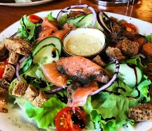 Halldórskaffi is one of Vik's best restaurants with this salmon salad and Arctic char