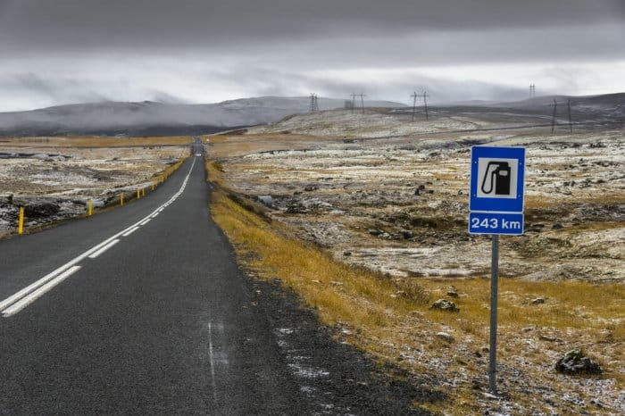 Gas in Iceland is expensive, but fill up as often as you can