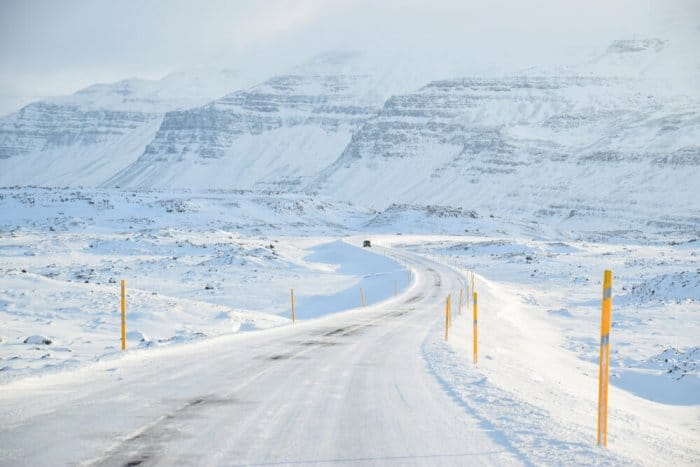 Be very careful when driving in Iceland in winter. The roads are snowy and icy