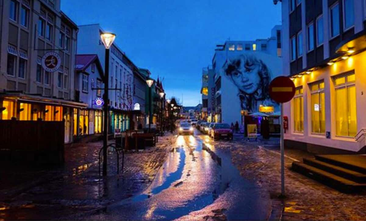 Nighttime street view of the best restaurants, cafes, and bars in Akureyri