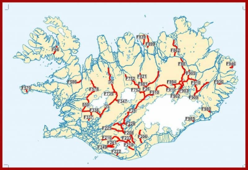 A map of Iceland's F-roads