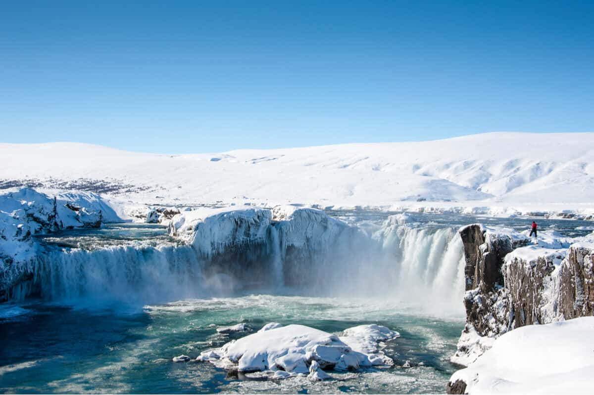 Frozen Godafoss waterfall during cold Icelandic February weather