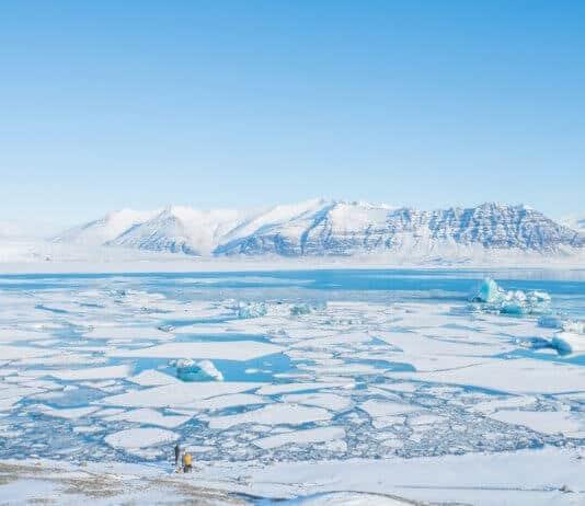 Iceland's Jökulsárlón glacier lagoon in February